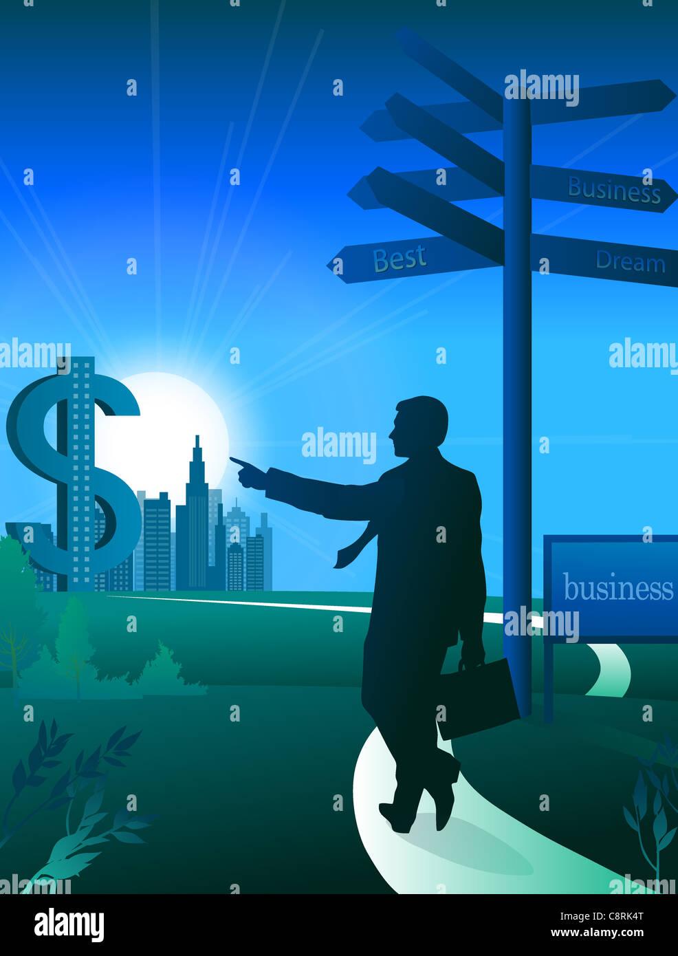 Illustration der Geschäftsmann und Dollarzeichen Stockbild