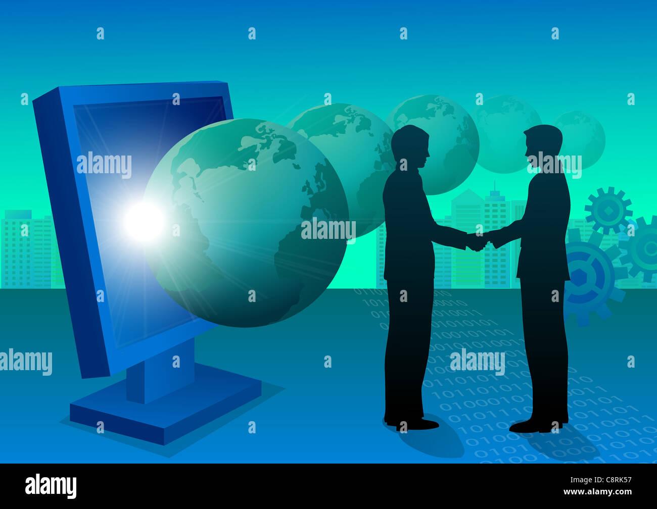 Abbildung von zwei Männern, die Hände schütteln Stockbild