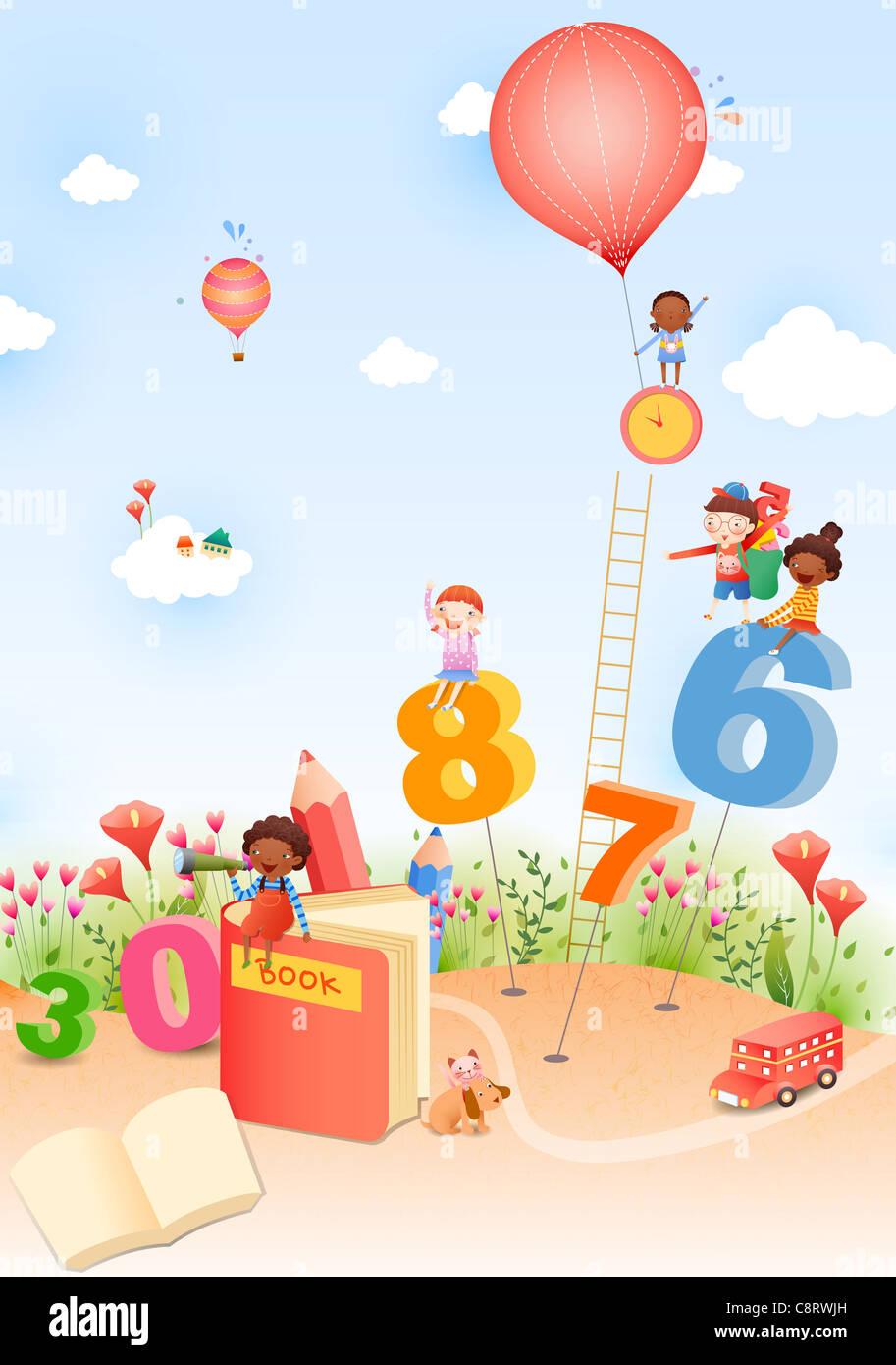 Kinder im Garten spielen mit Zahlen Stockbild