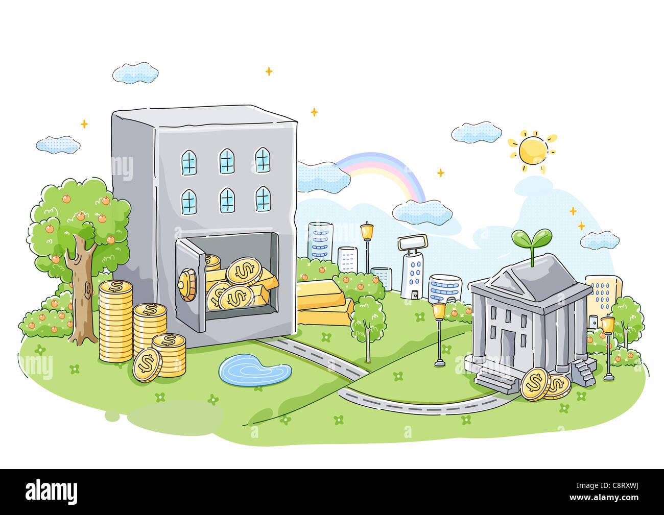 Konzept der Banken und Spar- Stockbild
