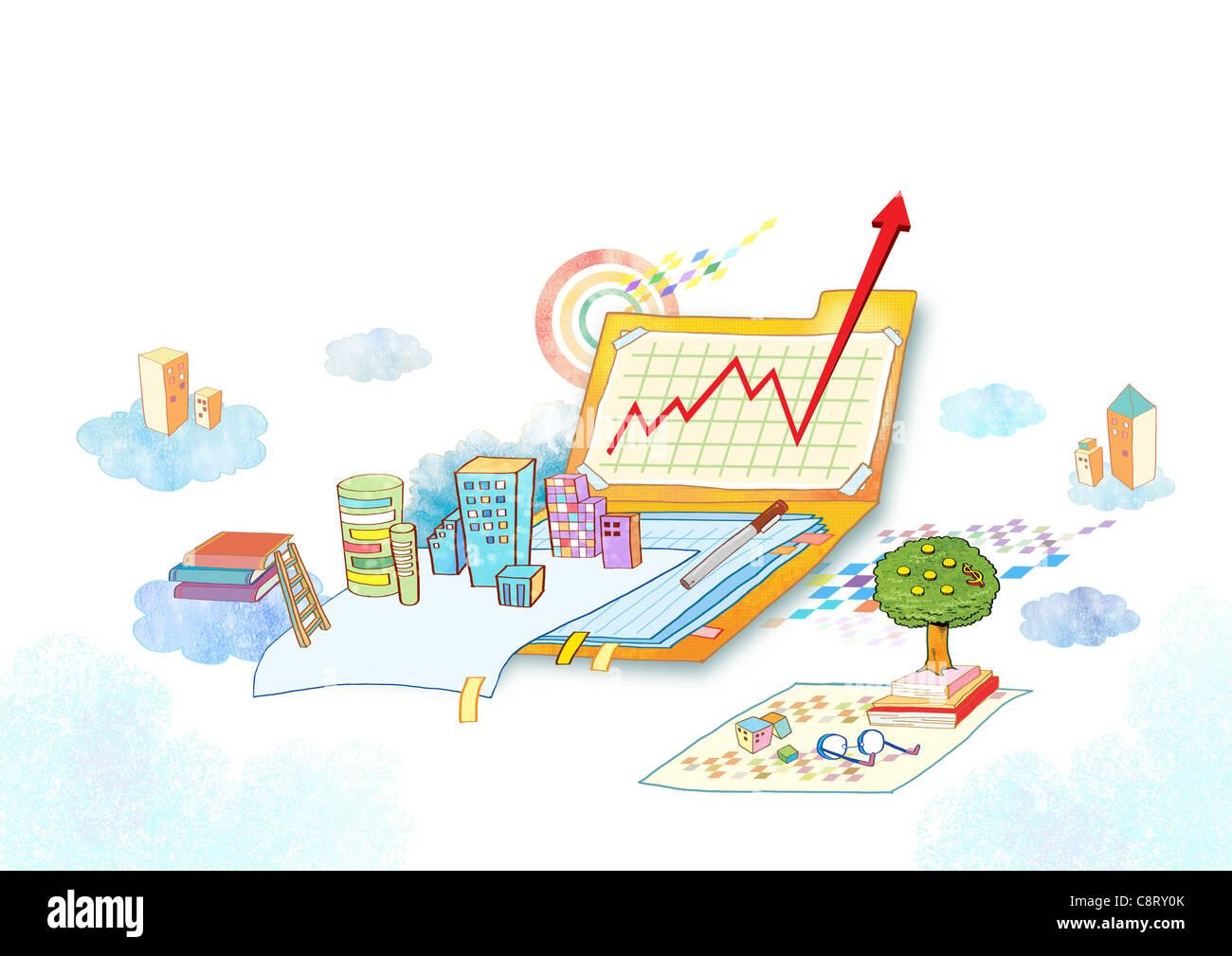 Abbildung von Gebäuden, Bücher und Pfeil-Symbol Stockbild