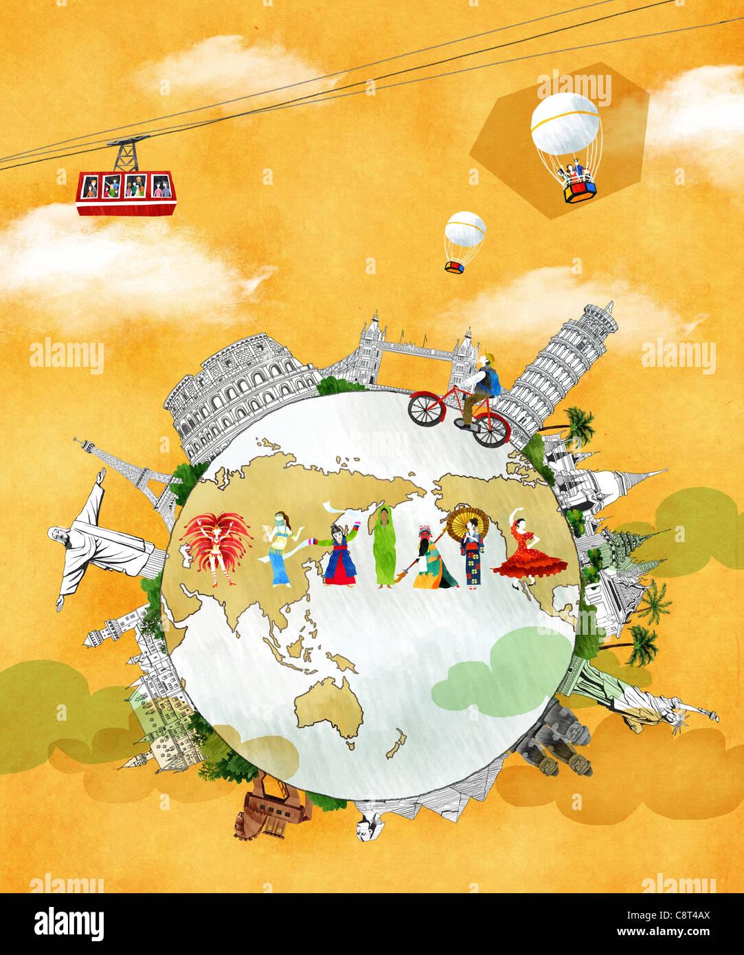 Globus und die traditionelle Kultur mit Wahrzeichen Stockbild