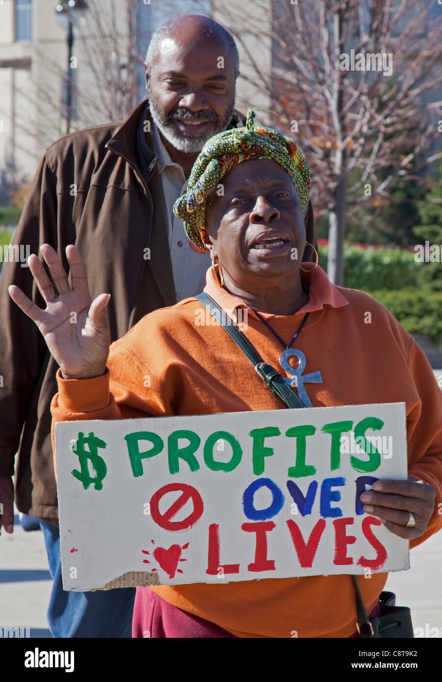 Detroit, Michigan - The Sierra Club, Michigan Wohlfahrtsorganisation Rechte und besetzen Detroit pfählte DTE Stockbild