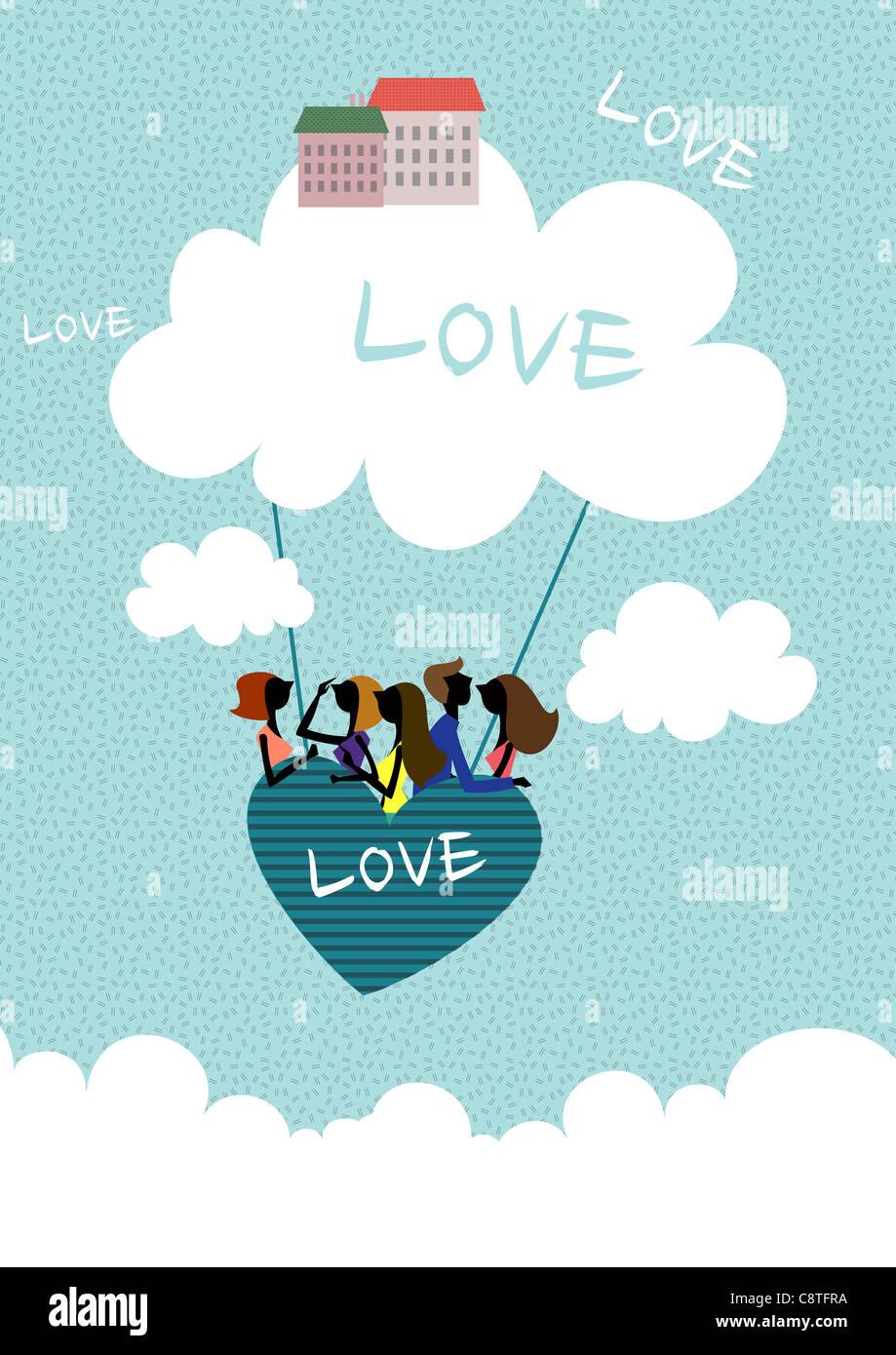 Paar In Herz-Form-Heißluftballon Stockbild