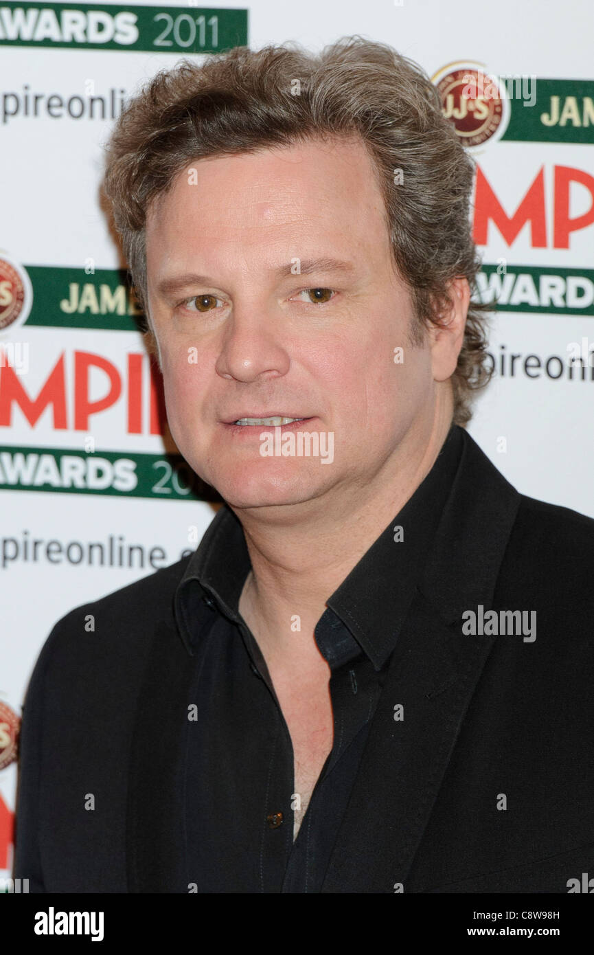 Colin Firth stellt im Presseraum bei den Empire Awards. Stockbild