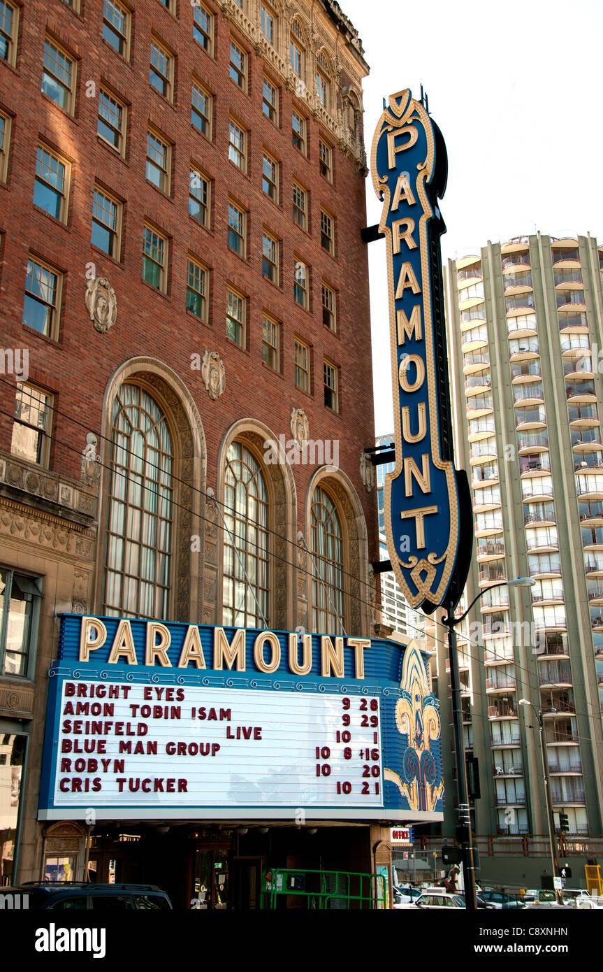 Paramount Film Theater Seattle Stadt Stadtstaat Washington Vereinigte Staaten von Amerika-USA Stockbild