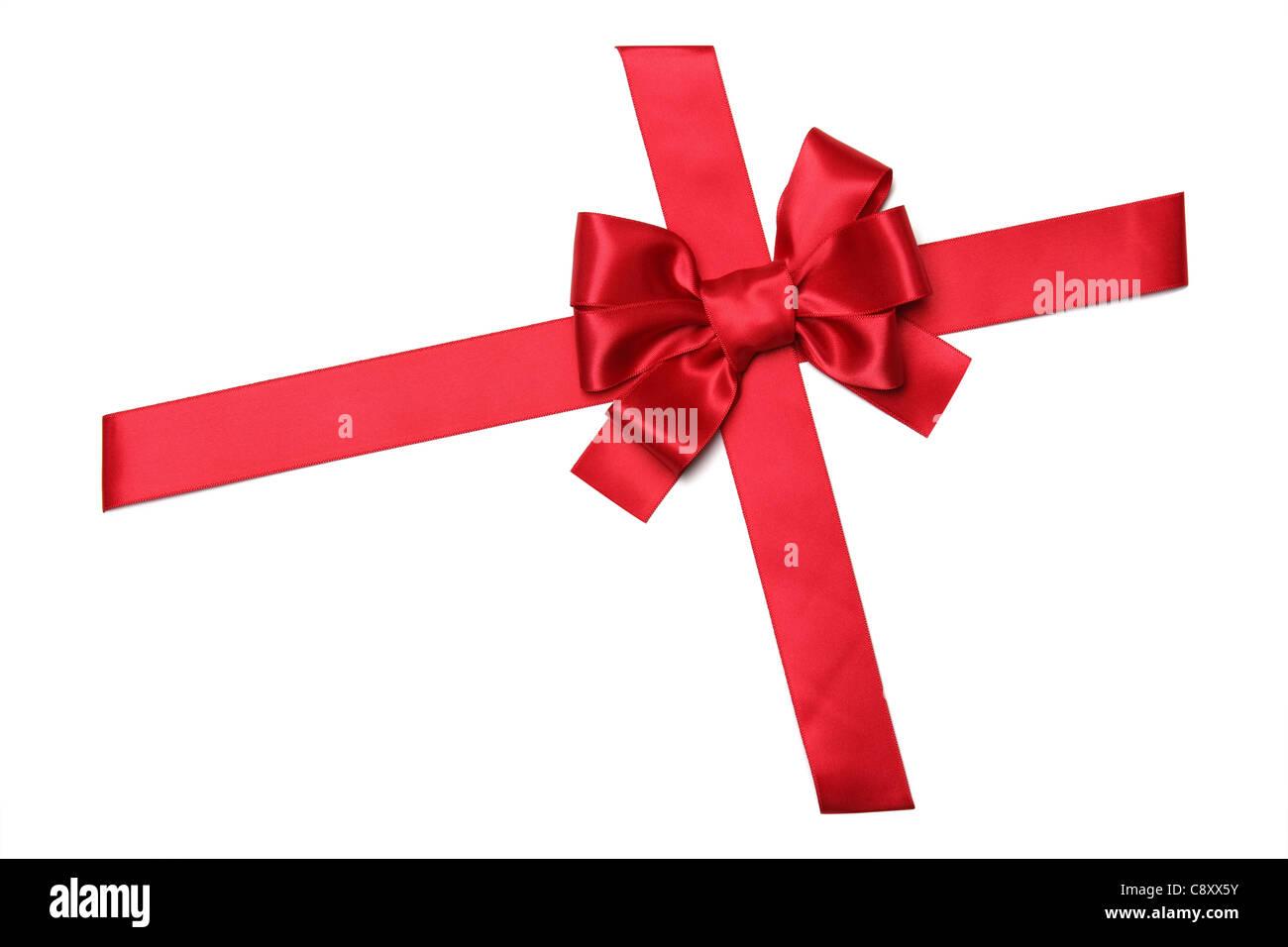 Rote Schleife mit Bogen isoliert auf weiss Stockbild