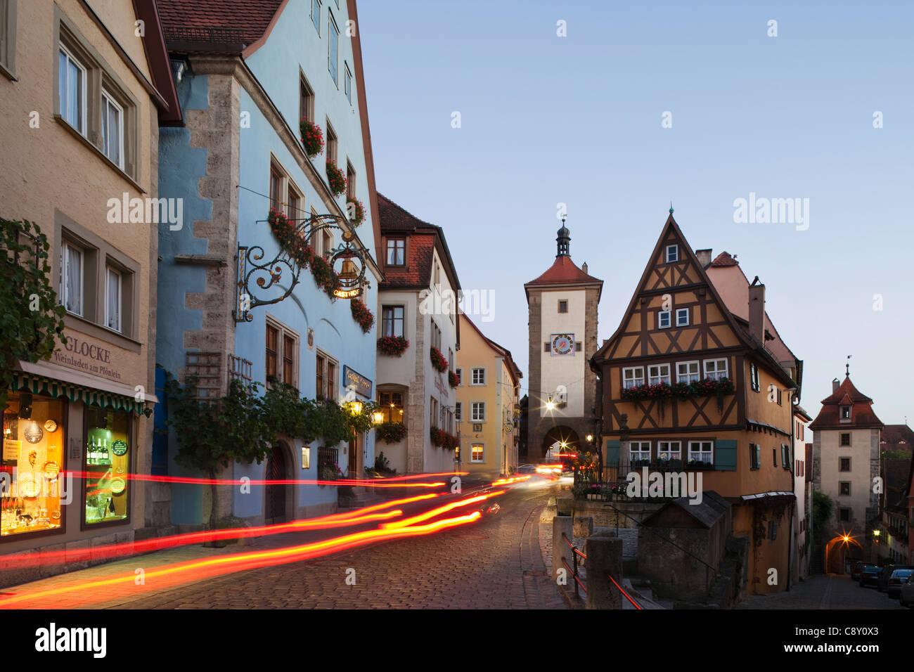 Deutschland, Bayern, romantische Straße, Rothenburg Ob der Tauber, Plonlein und Siebers Turm Stockbild