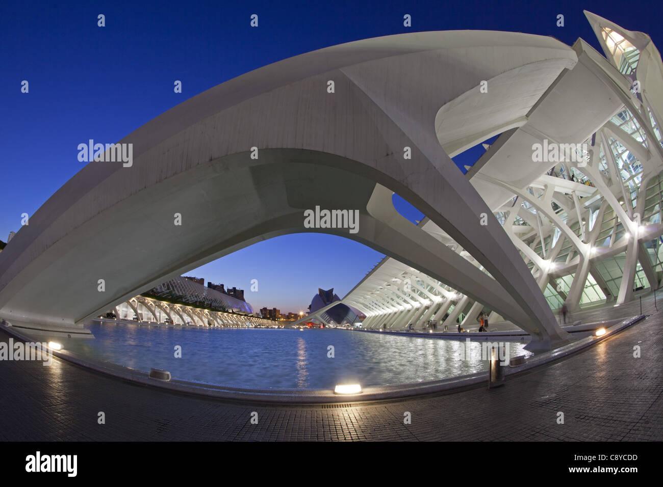Príncipe Felipe Wissenschaftsmuseum, Stadt der Wissenschaften und Künste vom Architekten Santiago Calatrava Stockbild