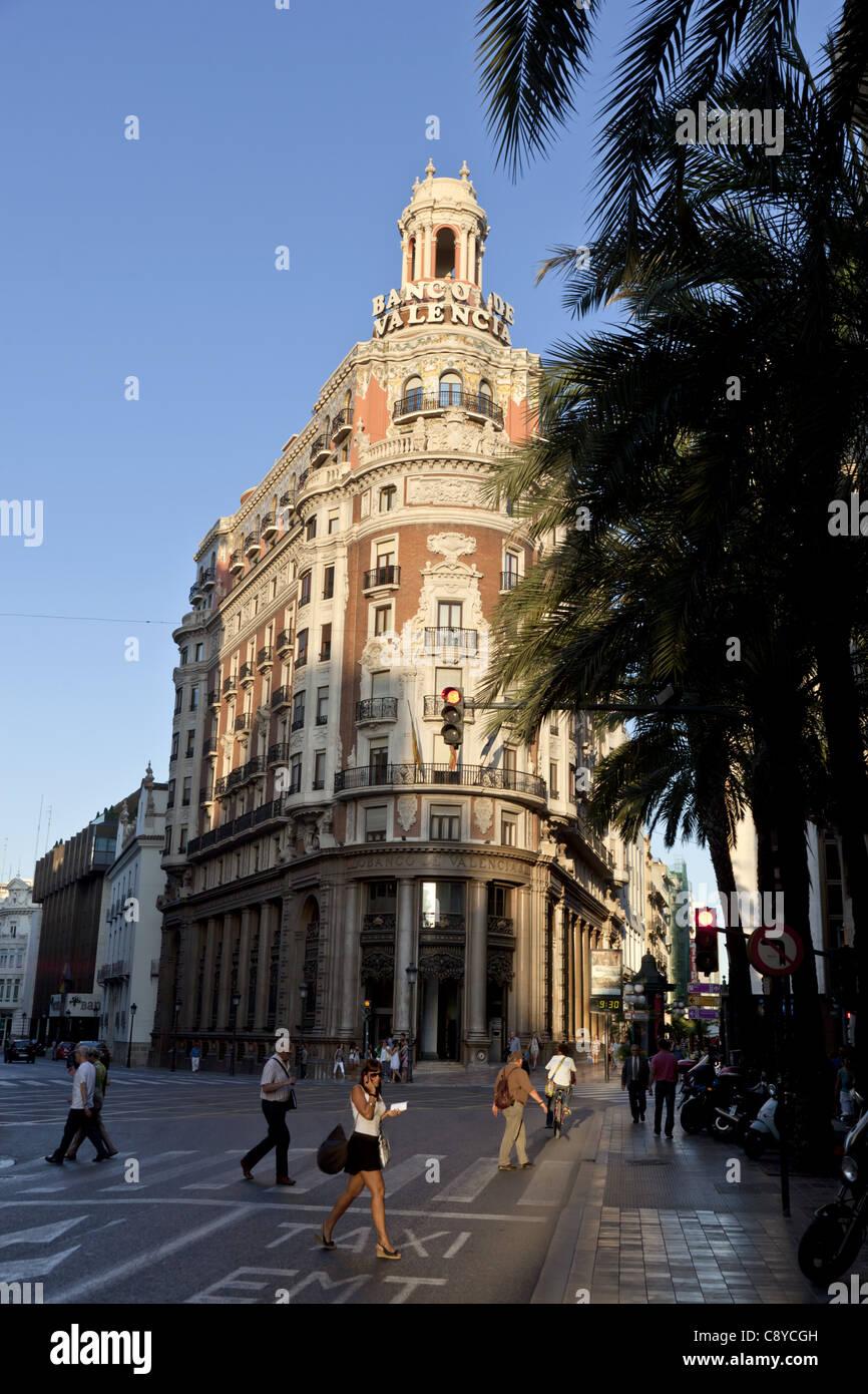 Banco de Valencia Gebäude, Art Deco, Valencia, Spanien Stockbild