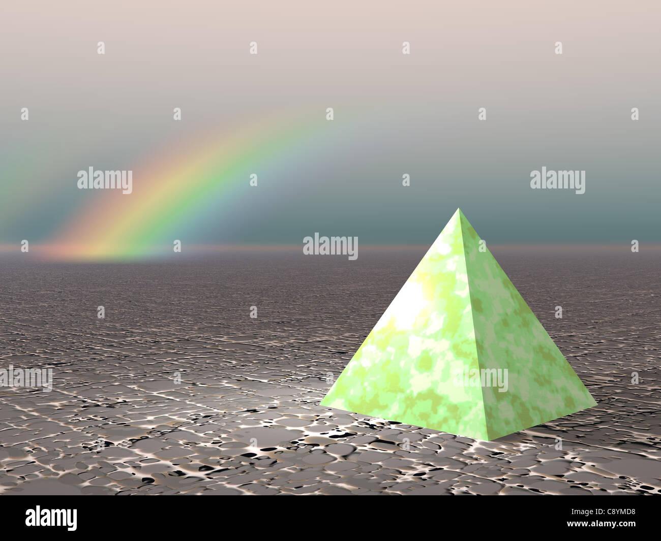 Abstrakt - Pyramide mit Regenbogen (CGI) Stockbild