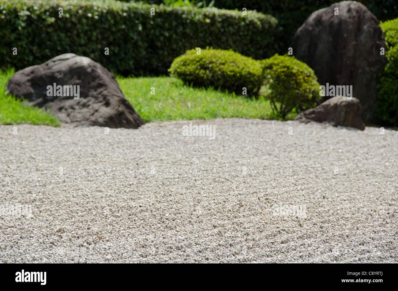 Stein Garten Des Zen Buddhismus In Japan Mit Kies Grosse Steine Und