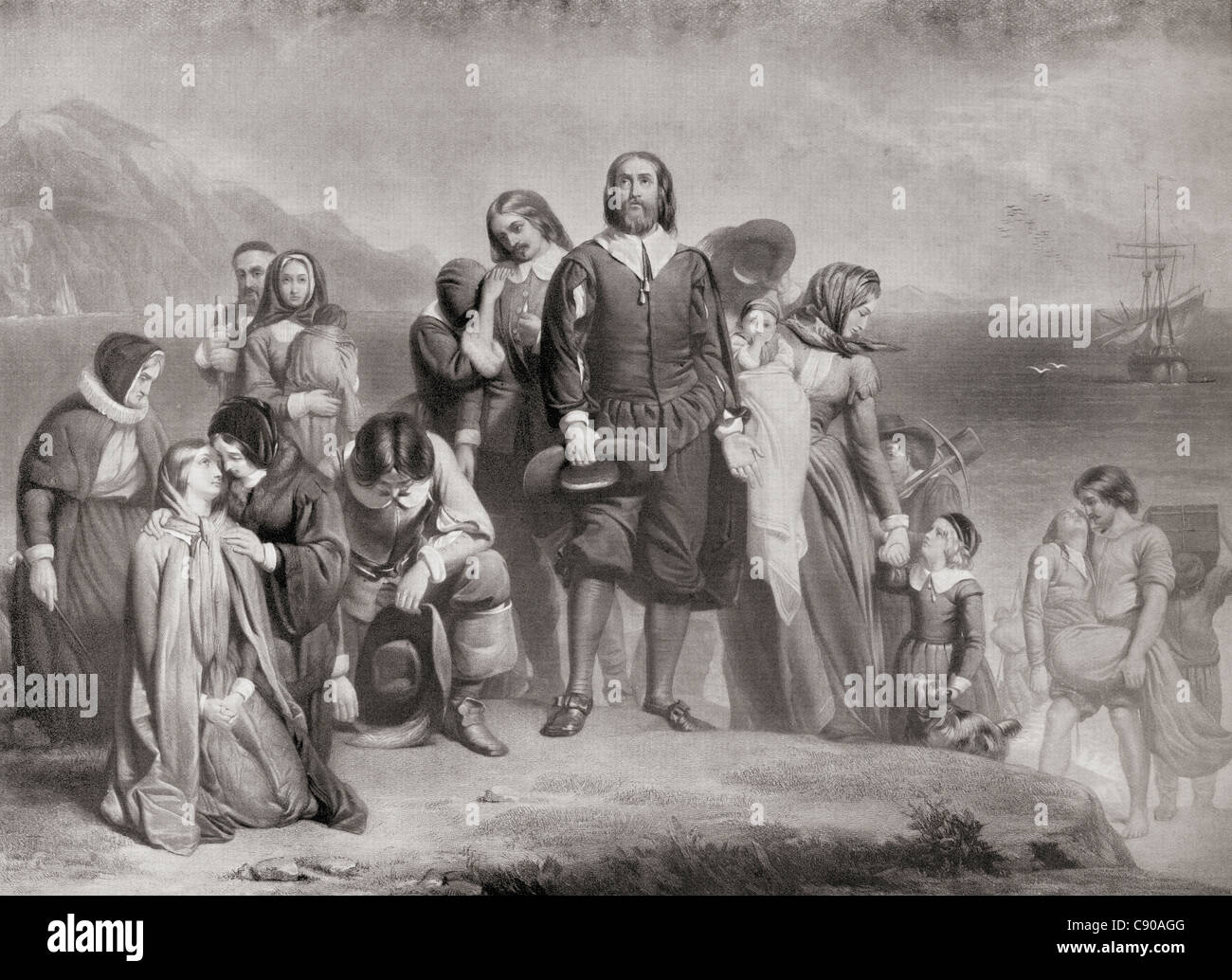 Die Landung der Pilgerväter, Plymouth, Massachusetts, Nordamerika auf 21. Dezember 1620. Stockbild