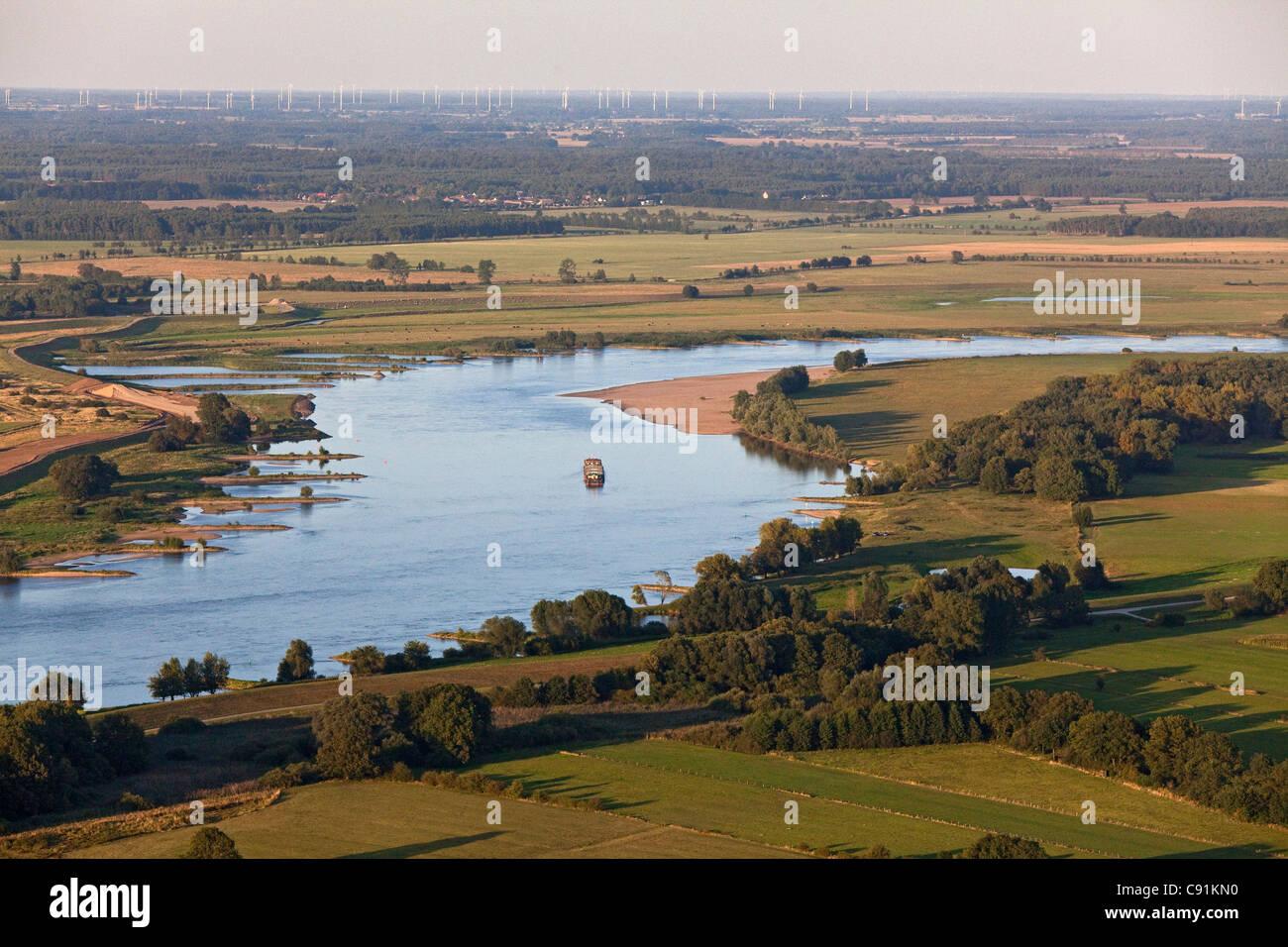 Luftbild von der Elbe, Marsch, Schnackenburg, Niedersachsen, Deutschland Stockbild