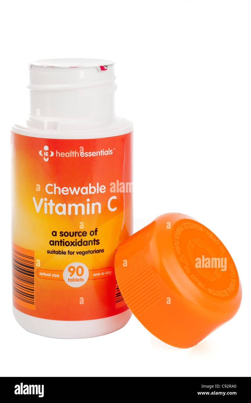 Vitamin C Kautabletten Tabletten eine pro Tag von Gesundheit wesentliche 90 in einen Sicherheitsbehälter Schraubverschluss Stockbild