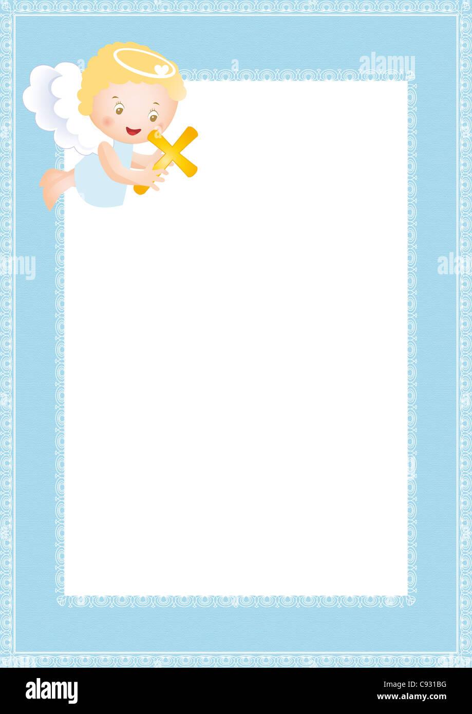 Baby-Taufe-Rahmen mit kleinen Engel Stockfoto, Bild: 40019604 - Alamy