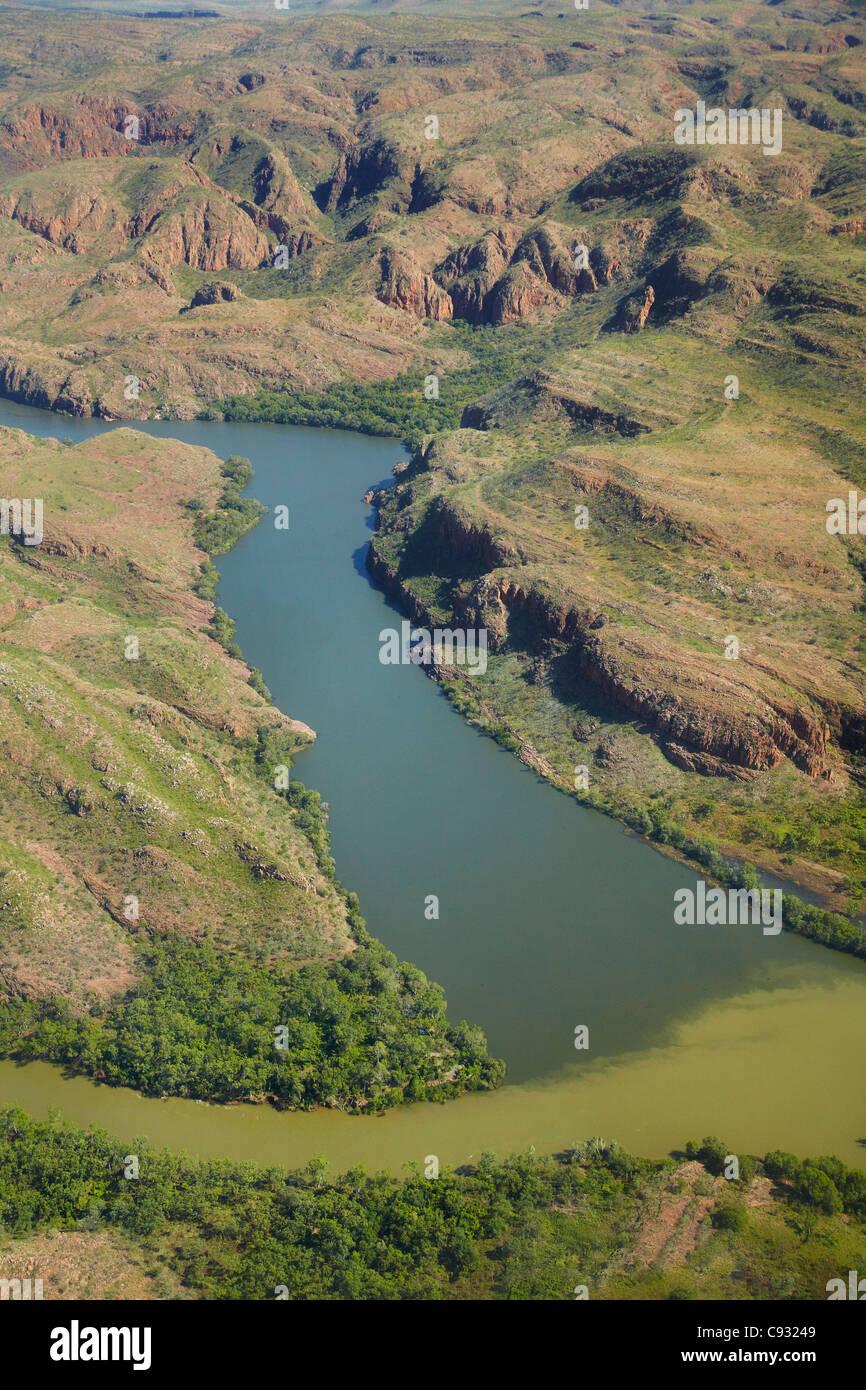 Konvergenz des Ord River und Lake Argyle Slipanlage Überlaufrinne, Kimberley-Region, Western Australia, Australien Stockbild