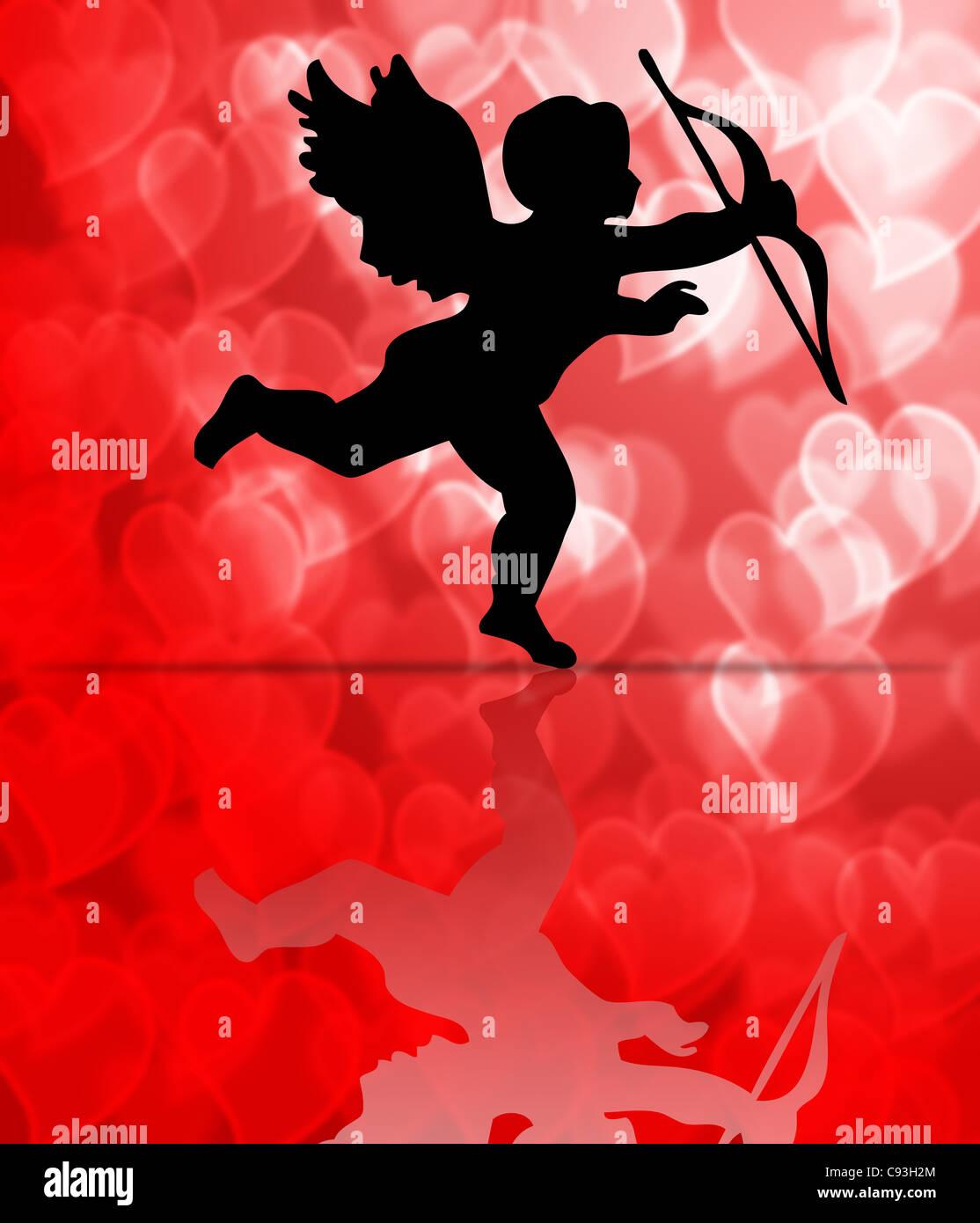 Valentinstag Amor Auf Herz Muster Verwischt Hintergrund Illustration