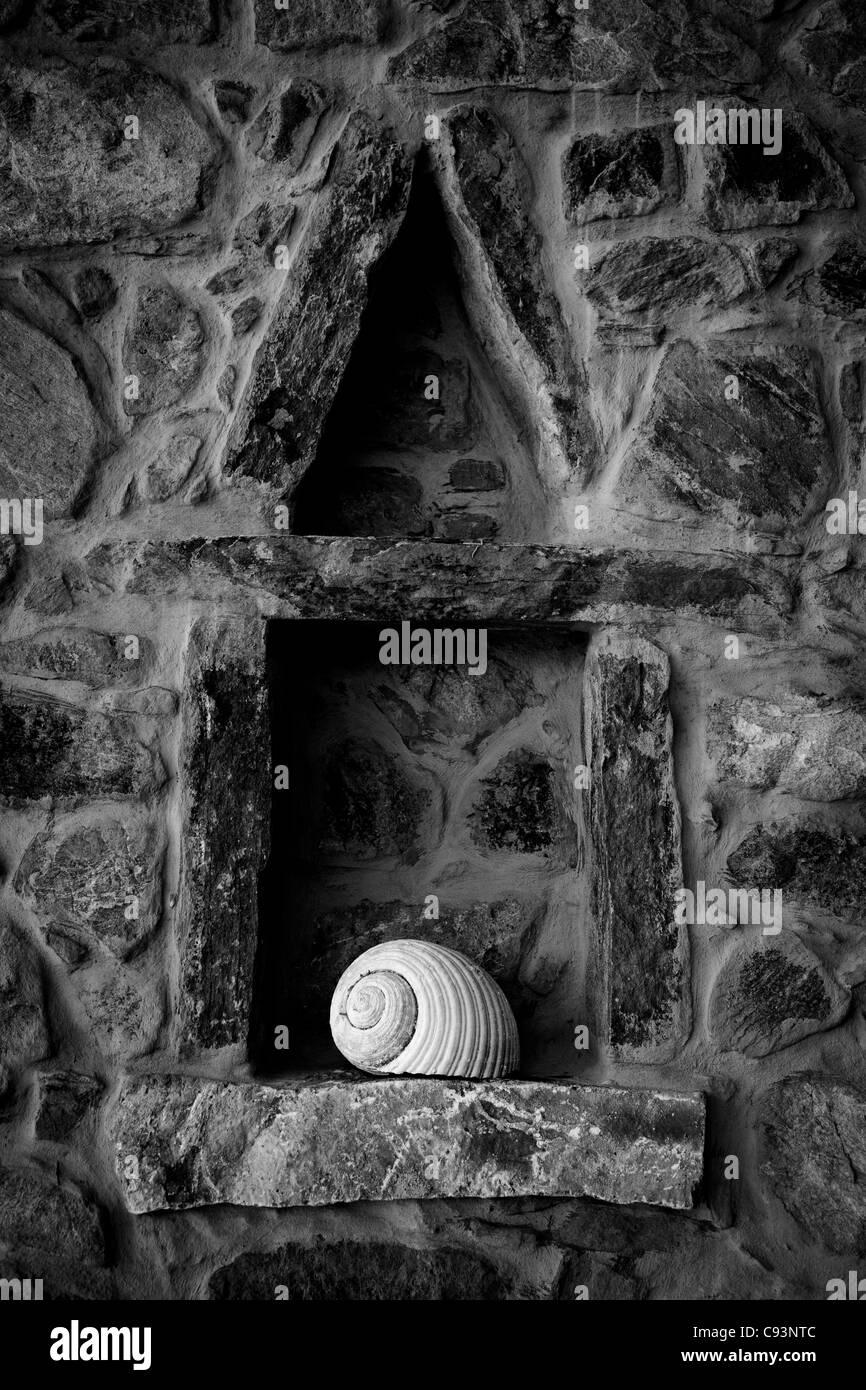 Schale Stein Regal Stockbild