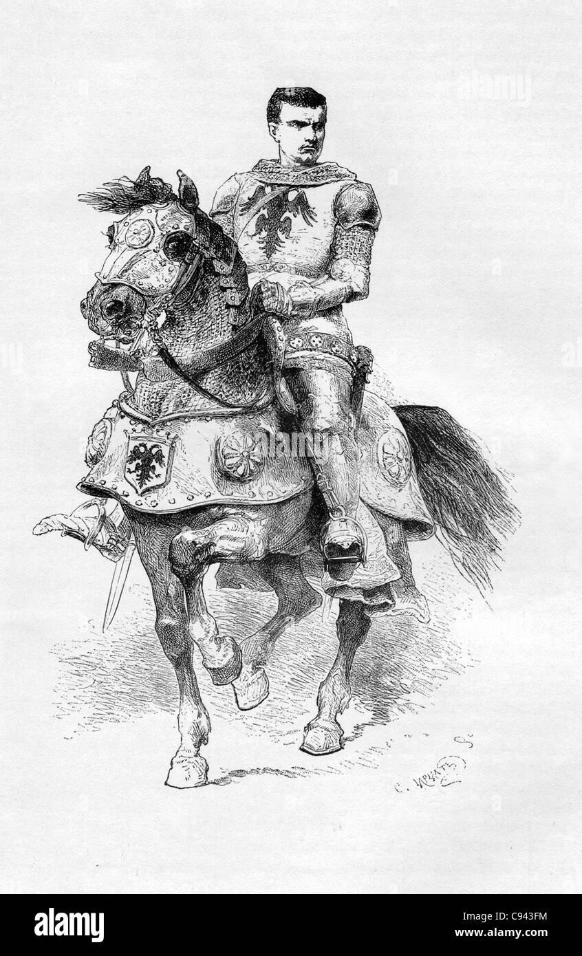Bertrand du Guesclin (ca. 1320-1380) war einer der beliebtesten Helden Frankreichs, vor allem in seiner Heimat Bretagne. Stockbild
