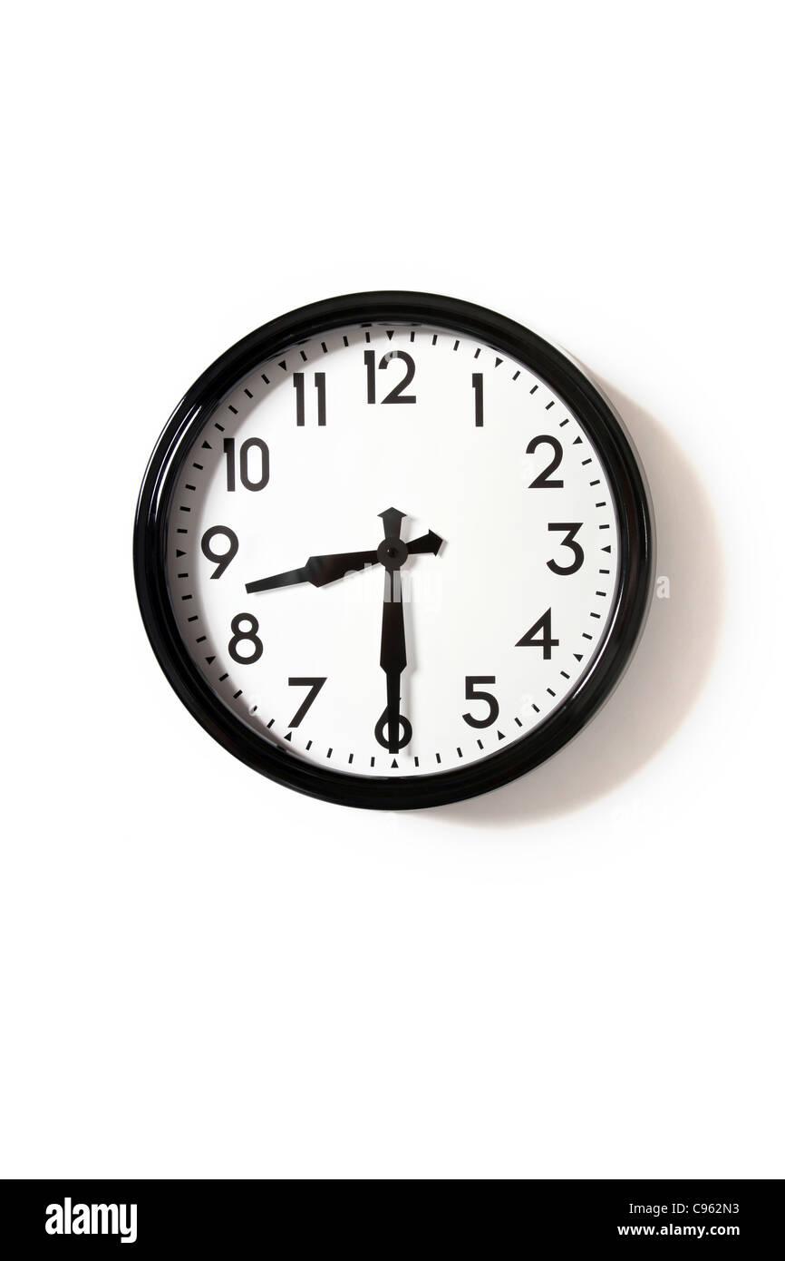 Eine Uhr um 8.30 Uhr Stockbild