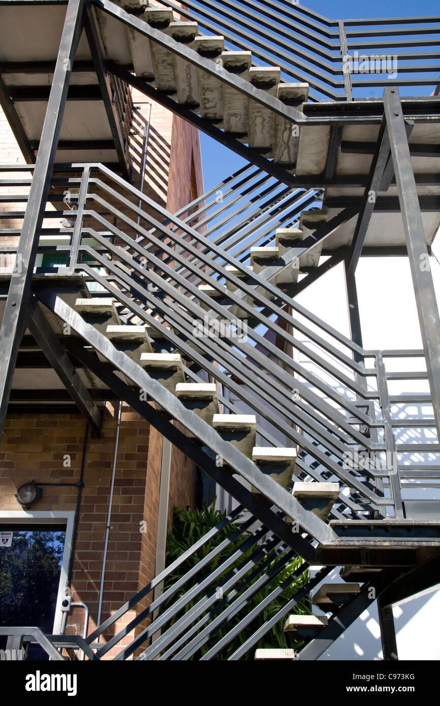 Gebäude Außen Metall Feuerleiter, Australien Stockbild
