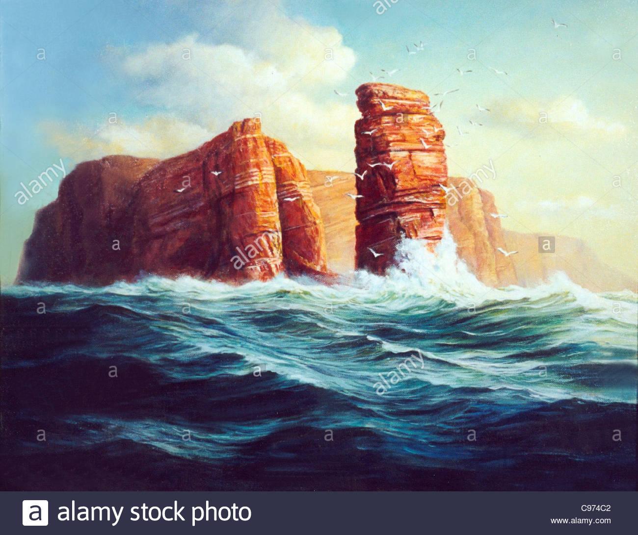 Insel Helgoland lgemlde Stockbild