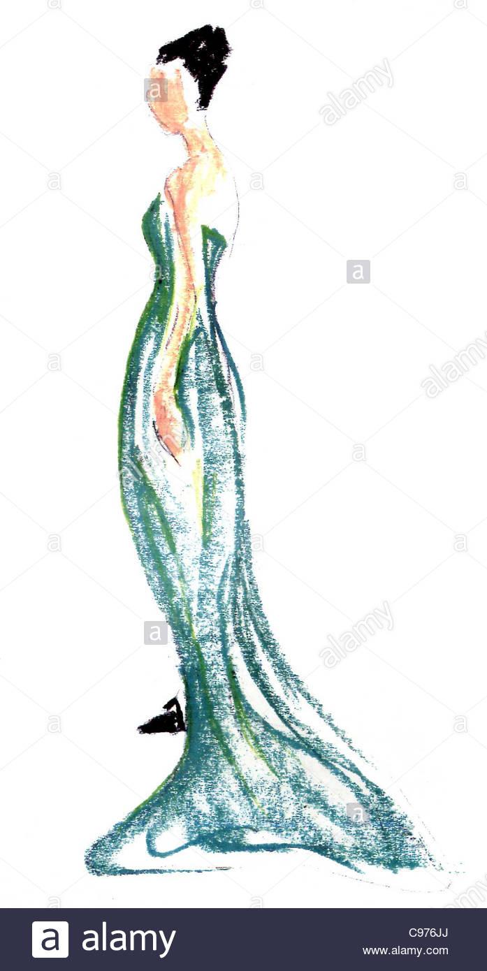 mode zeichnen frau abend kleid illustration illustration illustration stockfoto bild 40111530. Black Bedroom Furniture Sets. Home Design Ideas