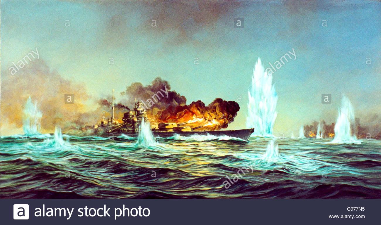 Historienmalerei  Historienmalerei Schlachtschiff Bismarck im Gefecht Stockfoto ...