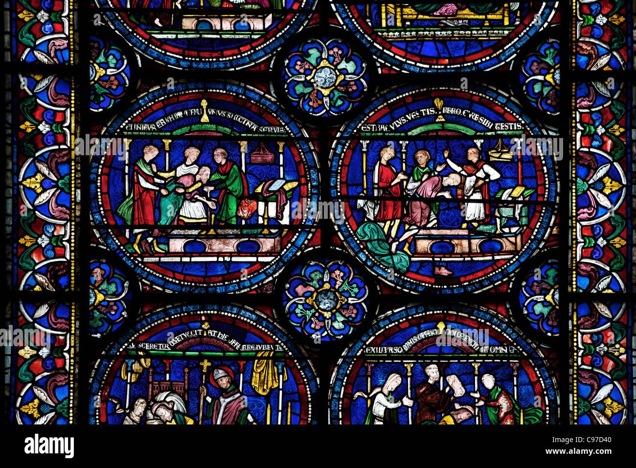 Heilung von Robert Cricklade, Nord ambulante n, IV, Trinity Chapel, mittelalterliche Glasmalereien, die Kathedrale Stockbild