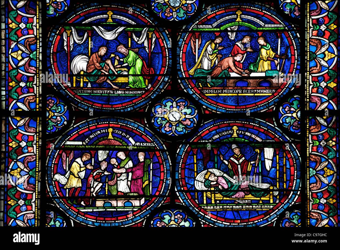 Heilung von William Kellet Nord ambulante n, IV, Trinity Chapel ambulante, mittelalterliche Glasmalereien, die Kathedrale Stockbild