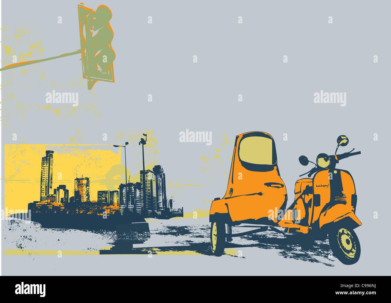 Oldtimer Roller auf dem städtischen Grunge-Hintergrund Stockbild