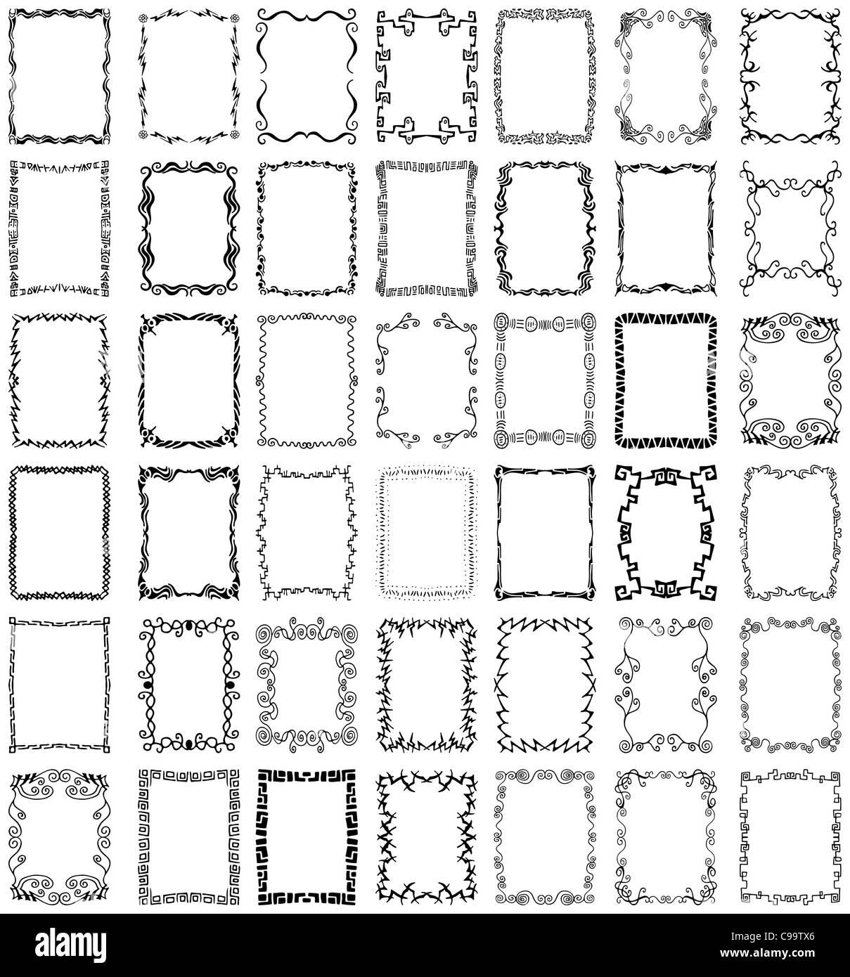 Eine Sammlung von mehr als 40 einzigartige, handgezeichnete Ränder ...
