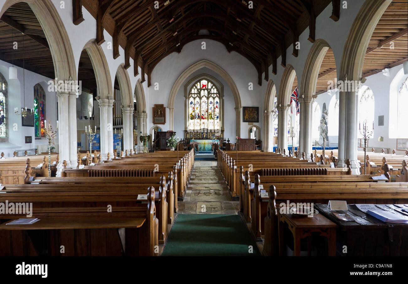 Innenraum der St. Peter und St. Paul Aldeburgh Pfarrkirche Stockbild