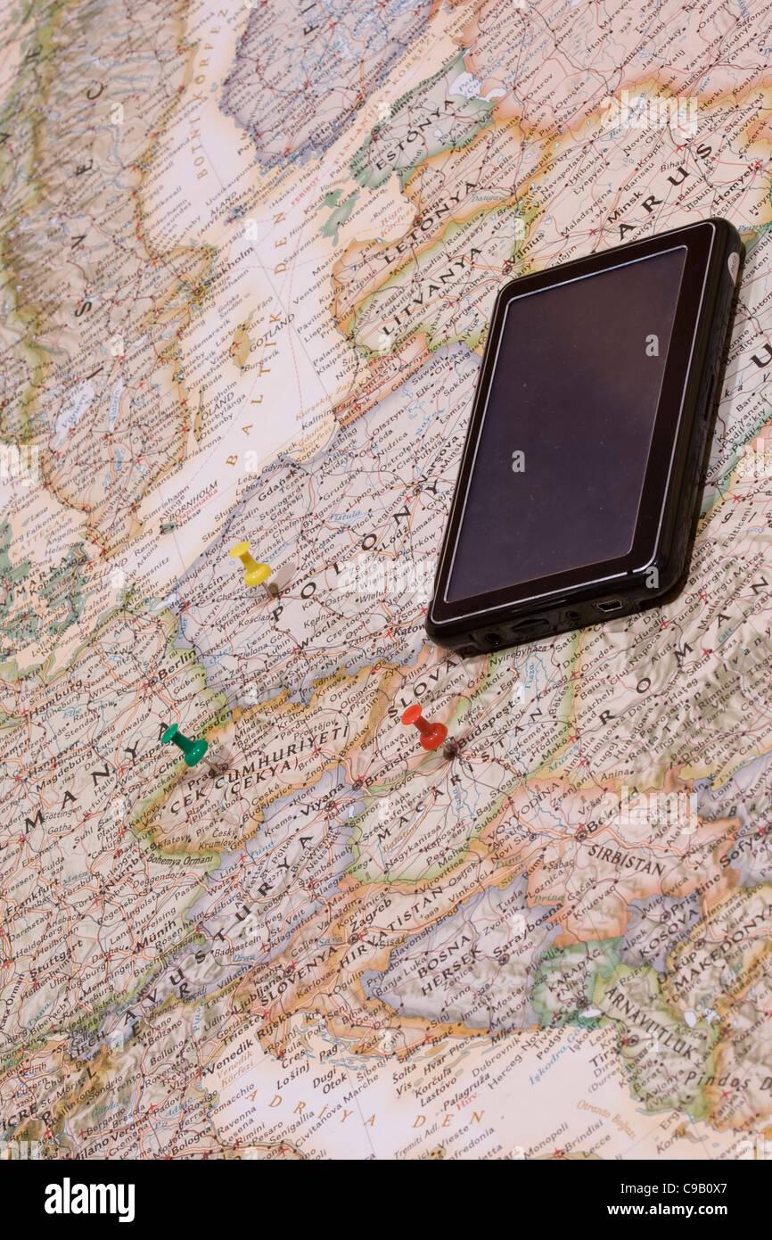 Pins zeigt den Standort der Zielpunkt auf einer Karte Stockbild