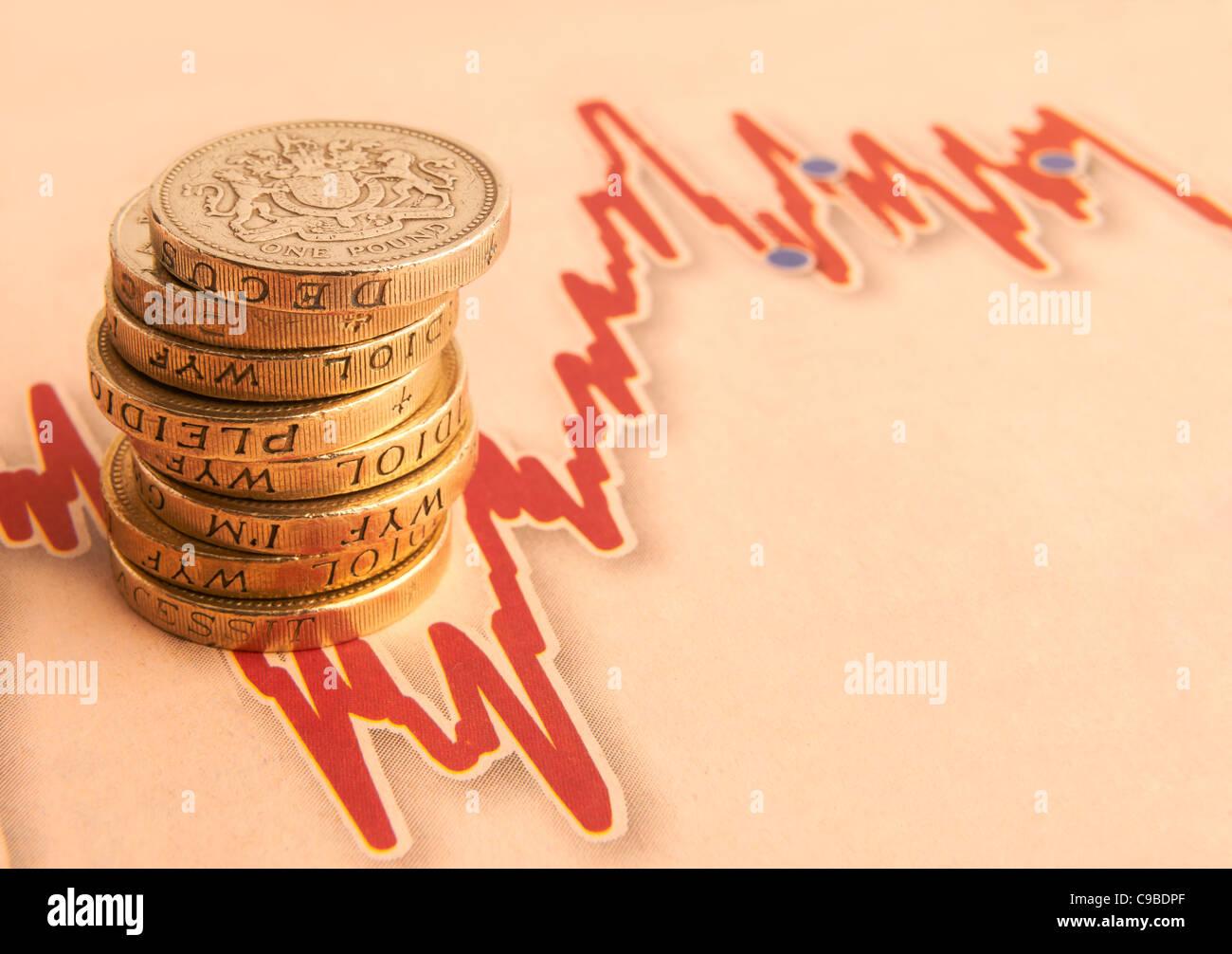 Stapel von 1 Pfund-Münzen auf schwankende Kurve mit Platz für Kopie Stockbild