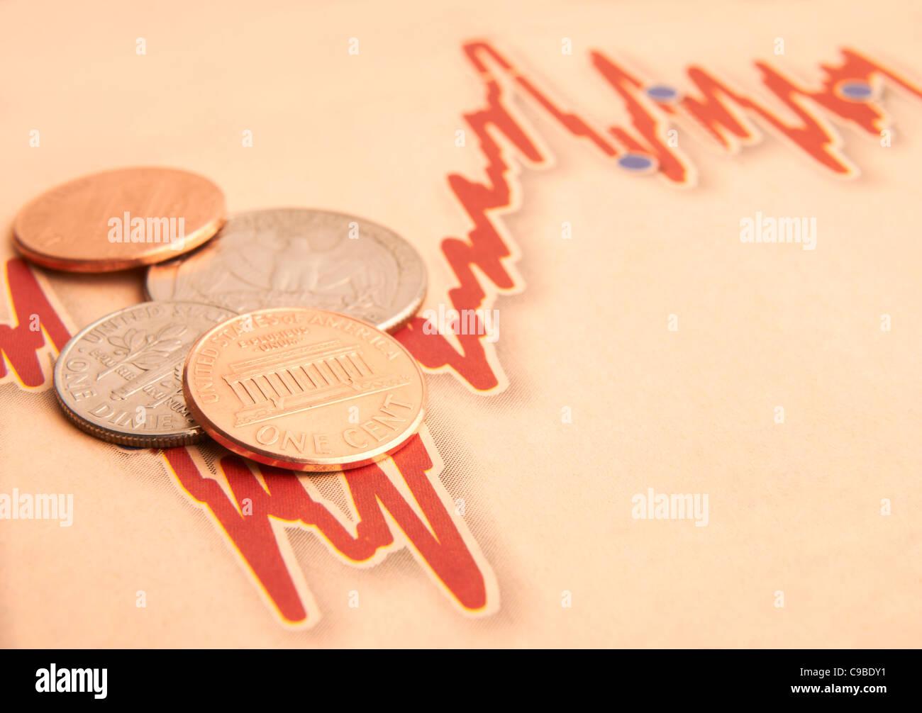Amerikanischen Münzen auf schwankende Kurve mit Platz für Kopie Stockbild