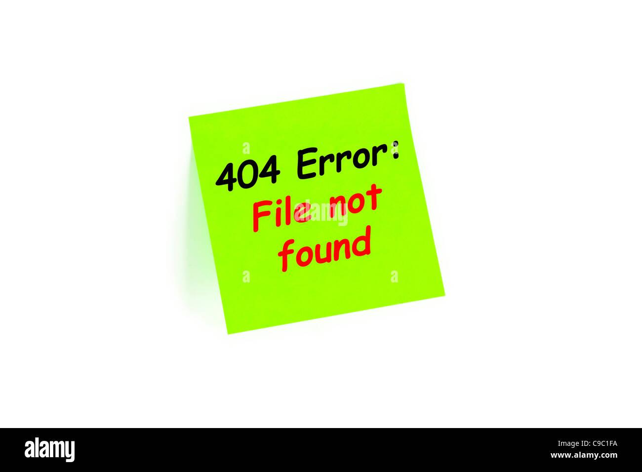 Fehler 404: Datei nicht gefunden auf einer Note, Isolated On White Stockbild
