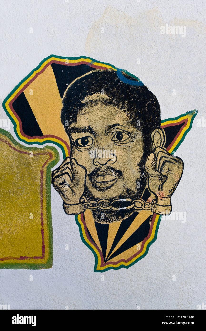 Graffiti mit afrikanischen Kontinent und Handschellen afrikanischen auf dem Campus der University of Cape Town-Südafrika Stockbild