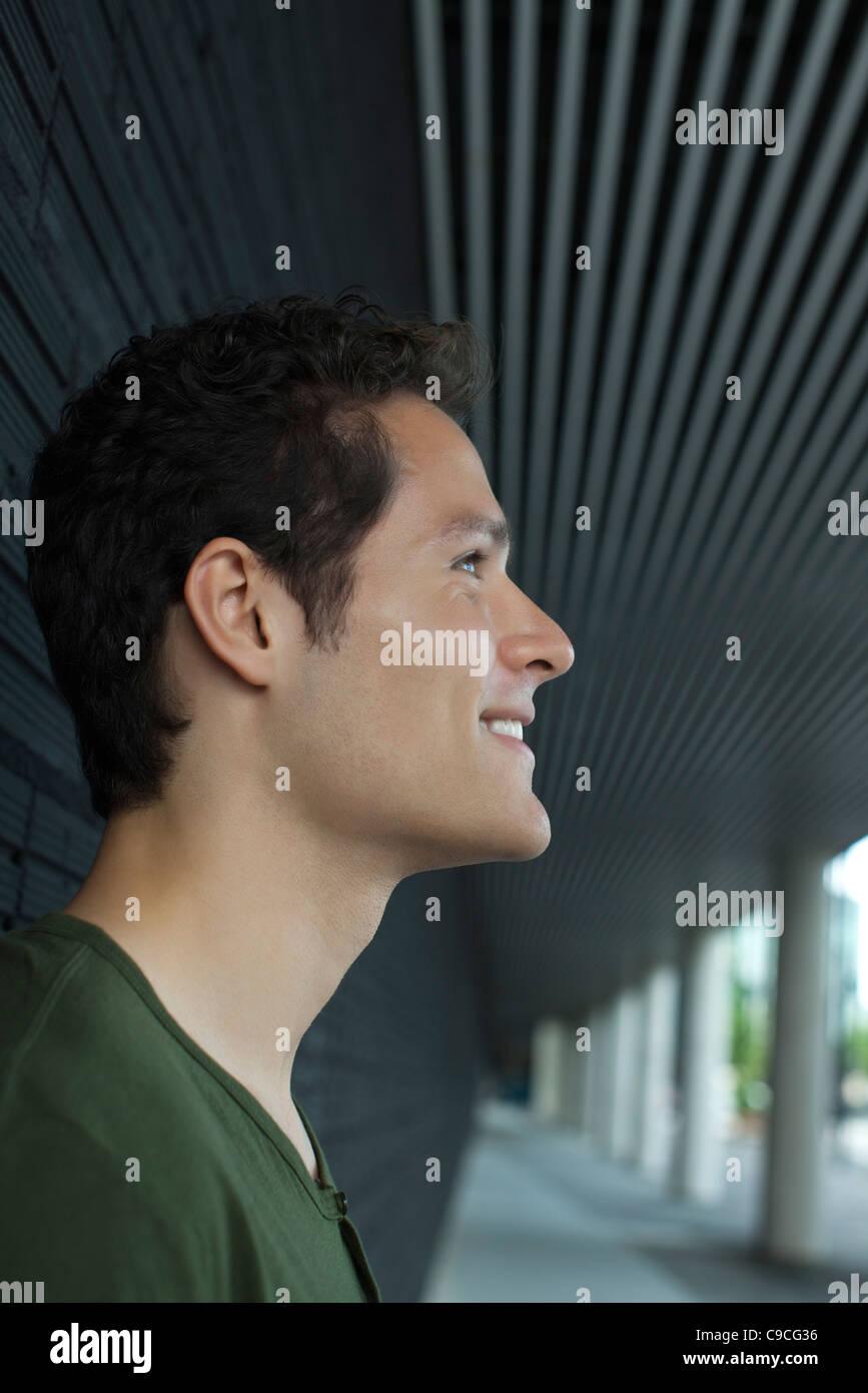 Lächelnder Mann, Profil Stockbild