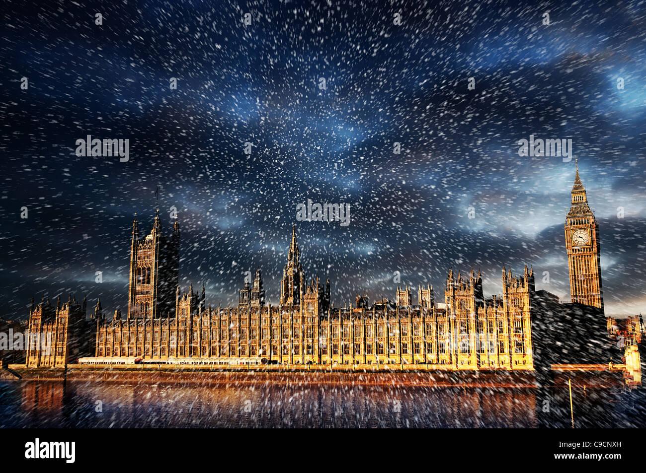 Schnee über westminster Stockbild