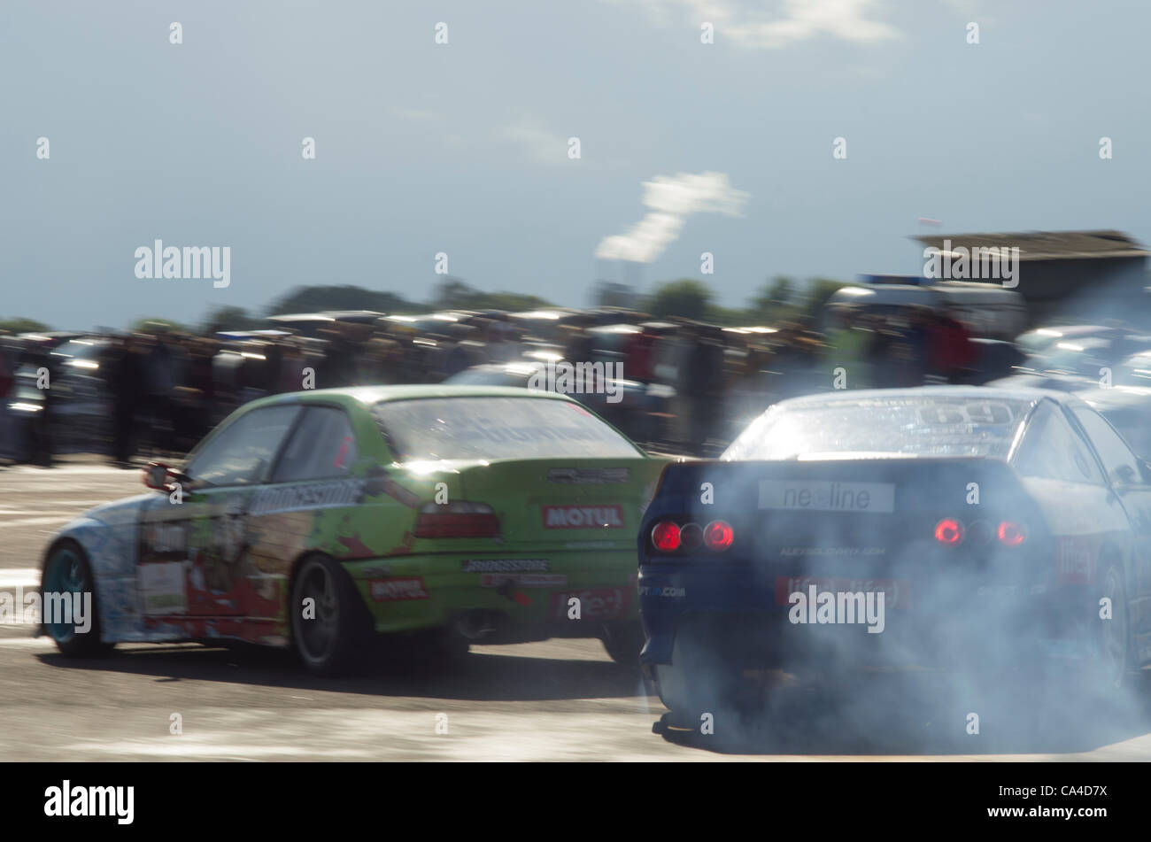 Minsk, Belarus, EEDC Runde 1 östlichen europäischen Drifting Championship 2012 Juni 2 Stockbild