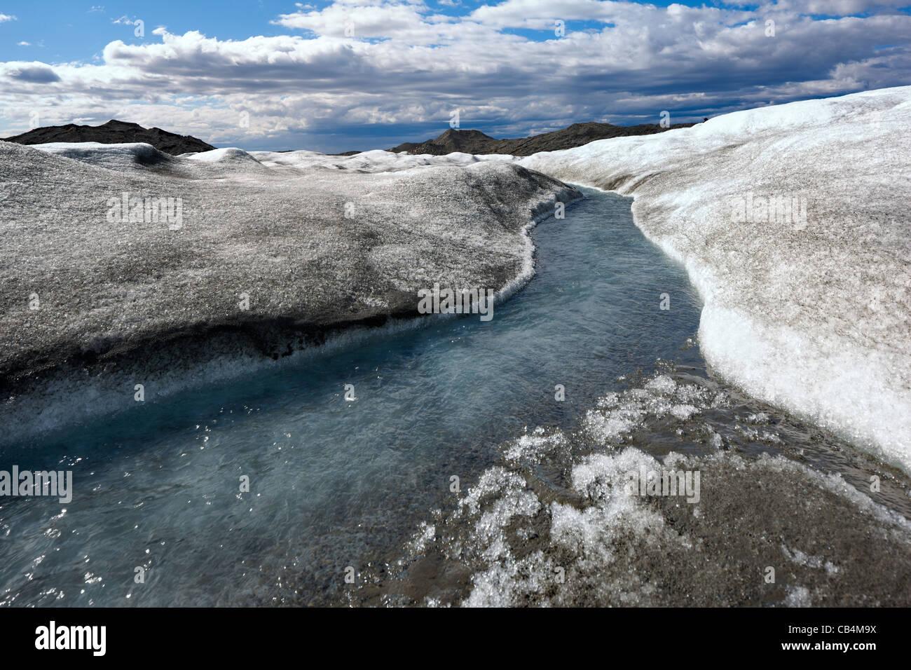 Indlandsisen (Eiskappe) in der Nähe von Kangerlussuaq, Grönland Stockbild