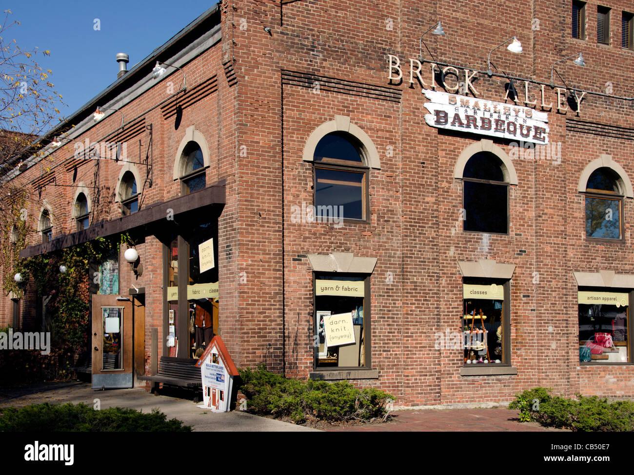Die Ziegel-Gasse ist ein historisches Gebäude in Stillwater, Minnesota, wo viele Geschäfte befinden. Stockbild