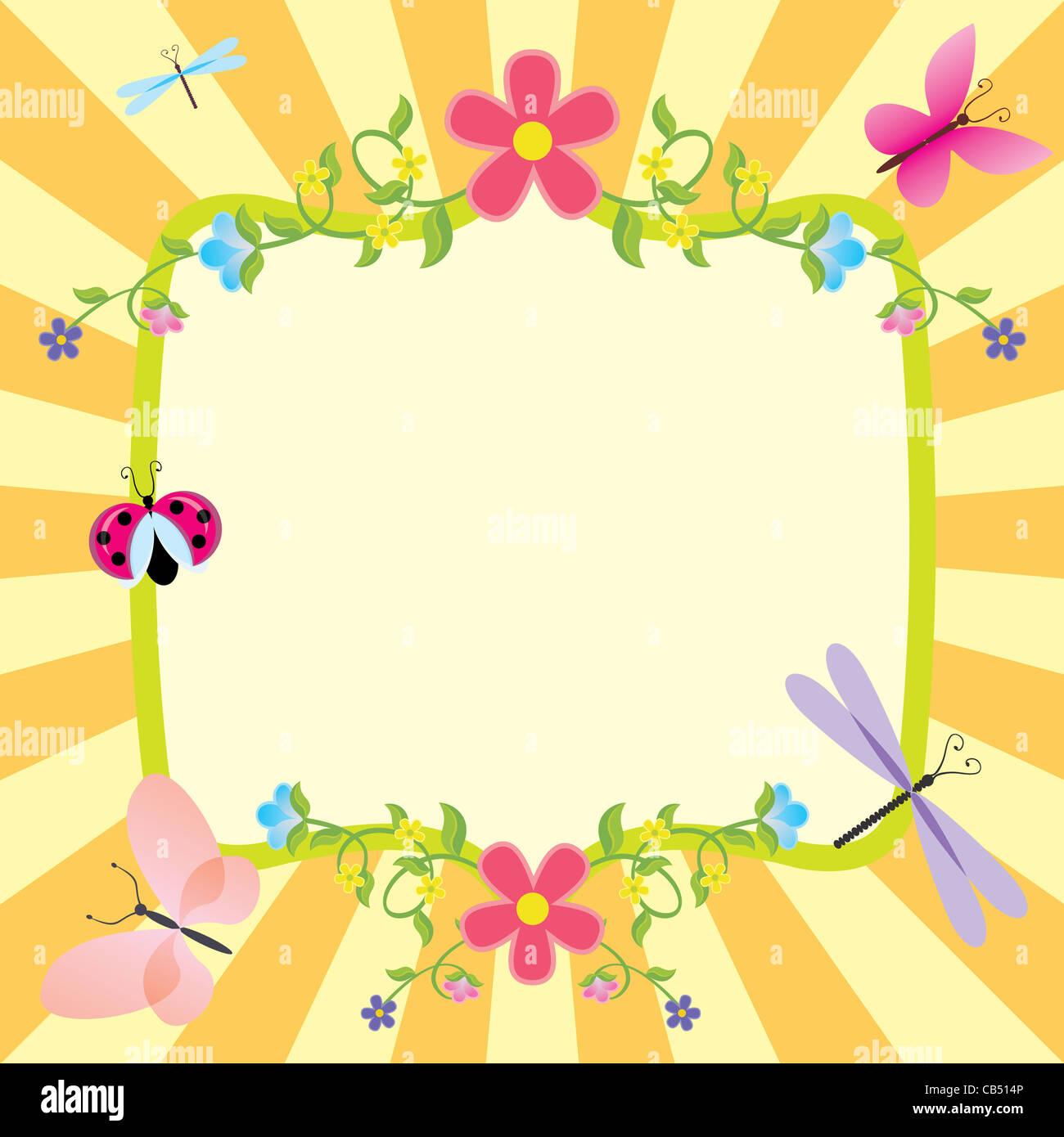 Cartoon-Frame Sommer oder Frühling Ostern Stockbild