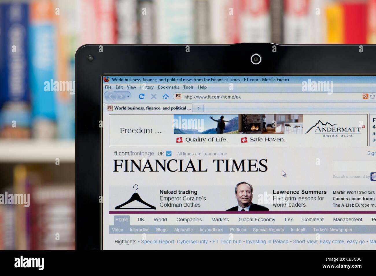 Die Financial Times Website erschossen vor einem Bücherregal-Hintergrund (nur zur redaktionellen Verwendung: Stockbild