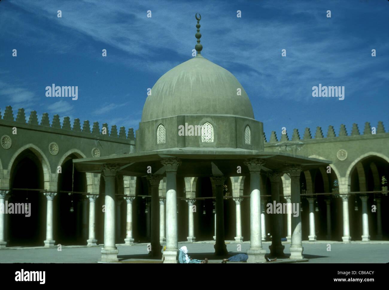 Blick auf den Innenhof der al Amr Moschee, Original im 642 n. Chr. erbaut Stockbild