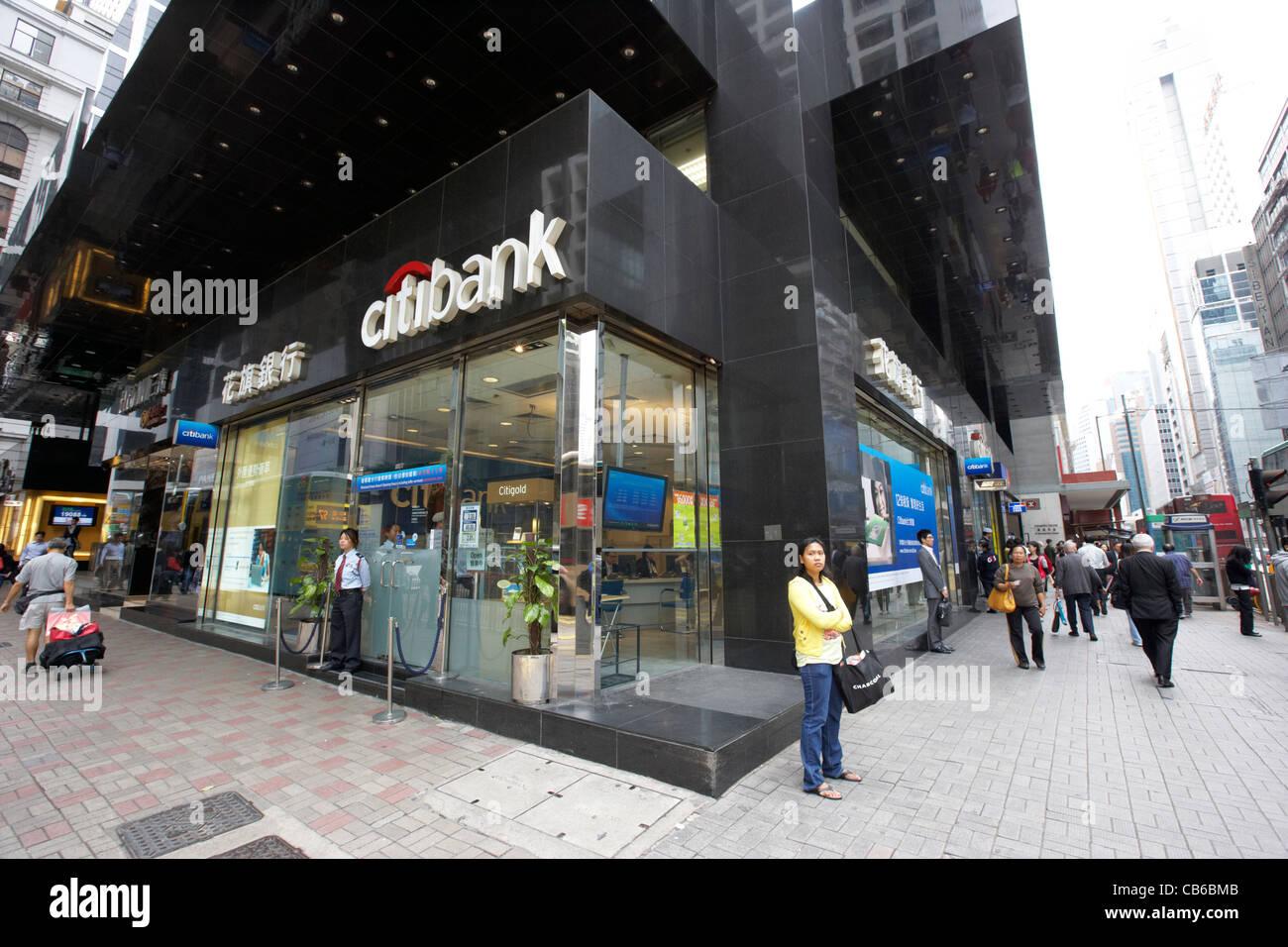 Filiale der Citibank an der Ecke einer Straße im zentralen Bezirk, Hong Kong Island, Hongkong, China Stockbild
