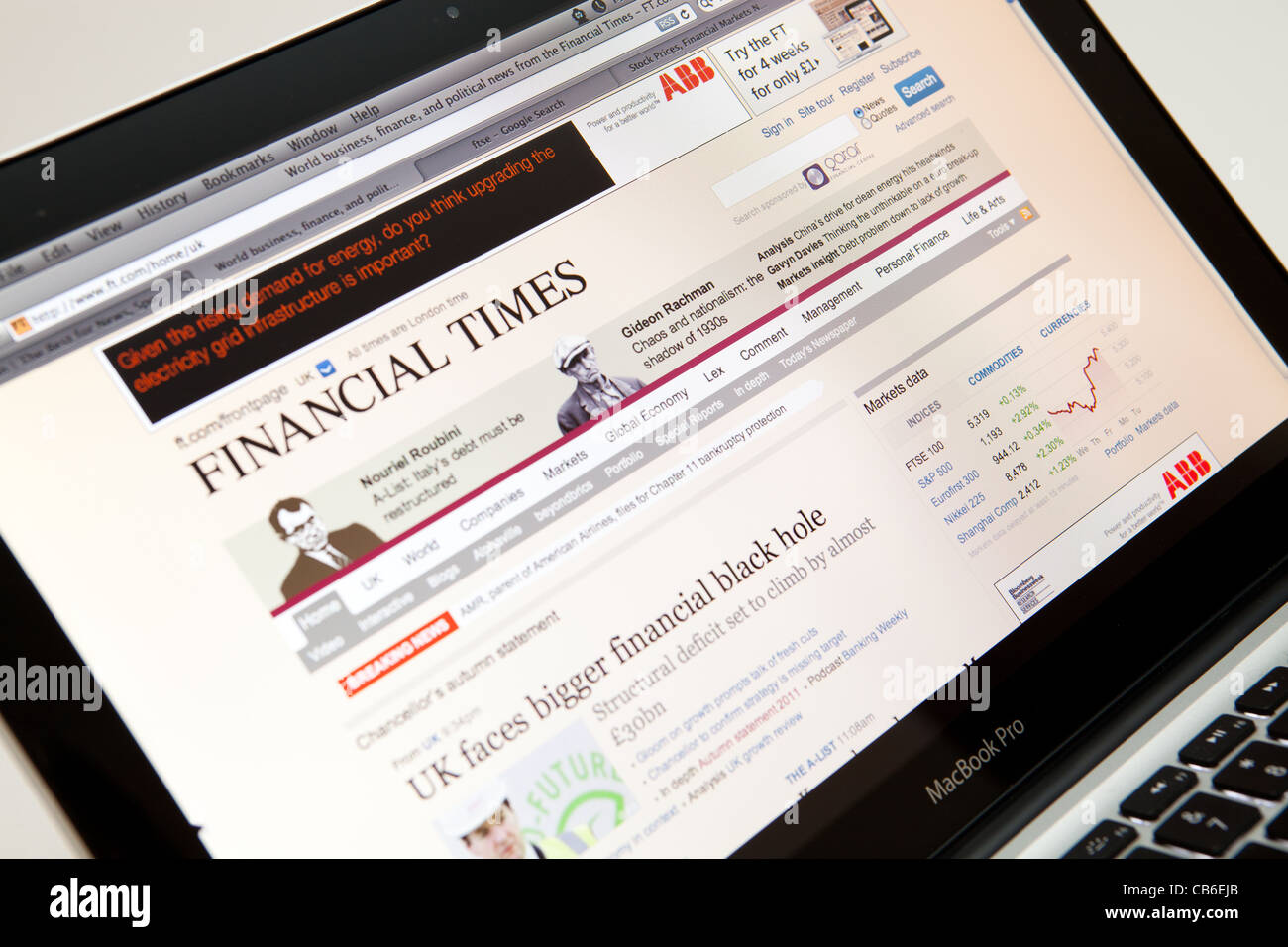 Der Financial Times Website Screenshot Webseite Stockbild