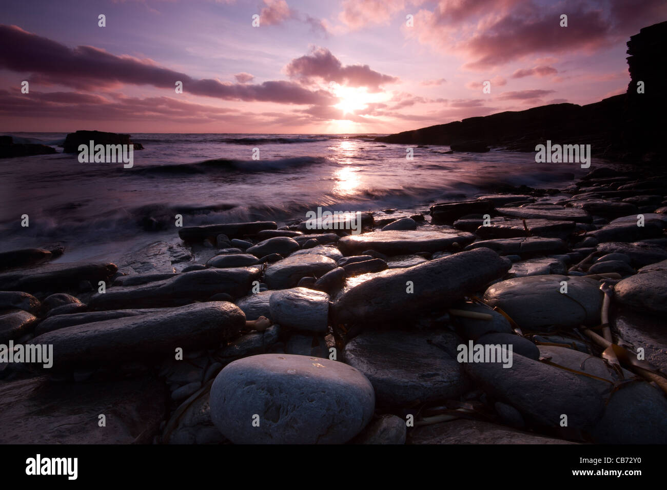 Orkney, Sandgeo Sonnenuntergang Stockbild